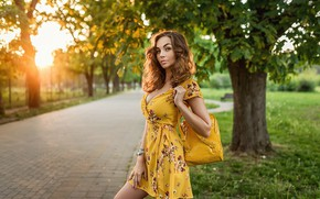 Picture greens, grass, look, the sun, trees, nature, sexy, pose, Park, lawn, model, portrait, makeup, dress, …