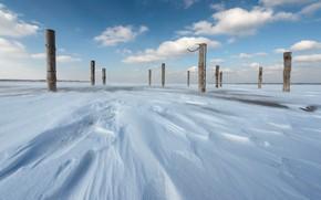 Wallpaper ice, snow, posts