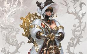 Wallpaper girl, sword, hat, armor, costume, coat, knight, Flower knight