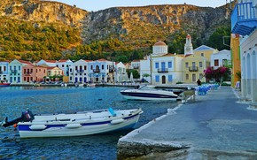 Picture the sun, rocks, shore, home, boats, Greece, Aegean Sea, Kastelorizo