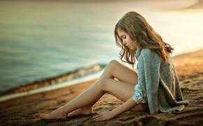 Wallpaper sea, coast, girl