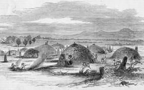 Picture black and white, California. Illustration from Gleason's Pictorial, Native American 'rancheria' in Yuba City, 1852., …