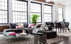 Picture interior, living room, dining room, Flatiron Loft