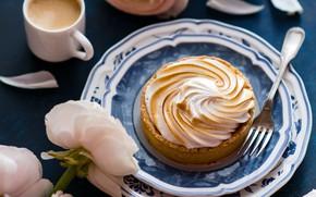Picture coffee, Cup, peonies, meringue, tart
