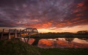 Picture sunset, bridge, river, Blazing Bridge