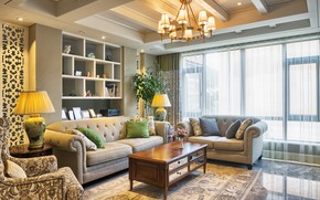 Wallpaper room, furniture, sofa, chandelier, living room, chairs