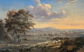 Wallpaper Ian Vanants, oil, picture, Hilly landscape with a Horseman on a Country Road, canvas