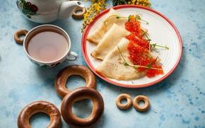 Picture Bagels, Caviar, Pancakes, Tea, Mimosa
