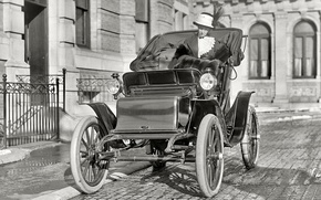 Picture retro, Ford, USA, car, lady, 1910-th year