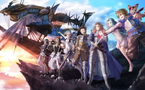 Picture girl, sword, gun, game, happy, weapon, anime, ken, blade, dragon, blonde, asian, japanese, oppai, bishojo, …