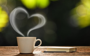 Wallpaper coffee cup, heart, love, good morning, hot, romantic, coffee, Cup, morning