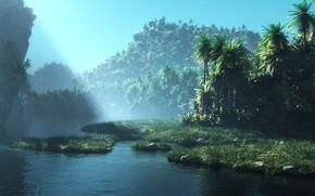 Picture nature, rock, vegetation, pond, lake tranqulity reinvented