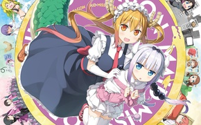 Picture girl, anime, dragon, japanese, maid, bishojo, seifuku, Miss Kobayashi's Dragon Maid