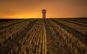 Picture field, night, tower