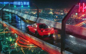 Picture night, bridge, the city, lights, red, Mazda, RX 7, Khyzyl Saleem