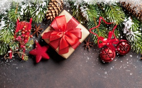 Wallpaper New Year, Christmas, snow, merry christmas, gift, decoration, fir tree