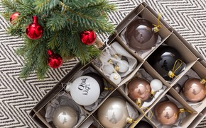 Picture holiday, balls, toys, new year, spruce, decoration