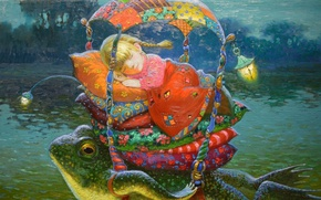 Picture night, pond, sleep, tale, flashlight, pillow, canopy, toad, cot, Victor Nizovtsev, Thumbelina, Perina