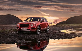 Wallpaper sunset, Bentley, 2018, Bentayga