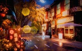 Picture autumn, night, street, road, bokeh