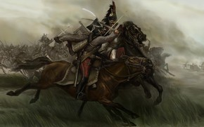 Picture pencil, Mount & Blade, art, painting, cavalry battle, gouache, wallpaper., The Napoleonic Wars, Warband, canvas ...
