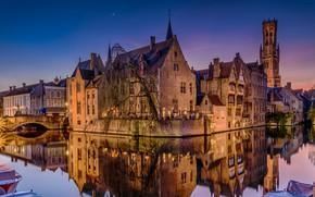 Wallpaper Bruges, night, channel, lights, Belgium, home, reflection, bridge