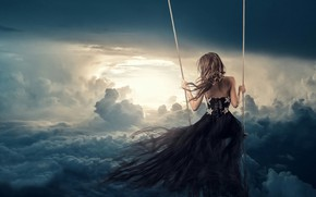 Picture the sky, girl, swing, dress