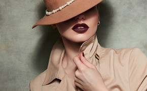Picture girl, lipstick, lips, hat
