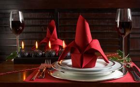 Picture wine, Glasses, plates, napkin, Table setting