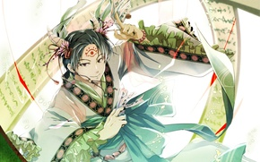 Picture magic, the demon, horns, spell, scroll, print, Hoozuki no Reitetsu, youkai, Hakuta the, Cold-Blooded Hozuki