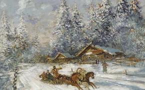 Picture winter, horse, three, Konstantin Korovin, Troika Racing through the Snow