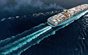 Picture The ocean, Sea, The ship, Cargo, A container ship, Susan, Container, Maersk, Maersk Line, Cargo, …