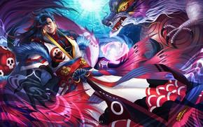 Picture dragon, spirit, warrior, art, male, onmyoji