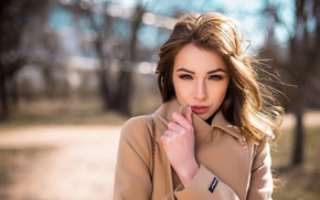 Picture girl, the sun, trees, portrait, makeup, hairstyle, brown hair, coat, cute, bokeh