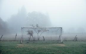 Wallpaper sport, fog, football, field, gate
