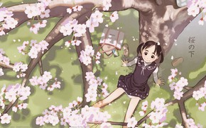 Picture happiness, smile, spring, Sakura, girl, characters, bag, sitting, flowering, art, on the grass, two tails, …