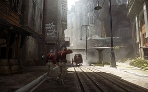 Picture city, the city, street, the game, art, guards, Dishonored, Arkane Studios, Dishonored 2, stealth-action