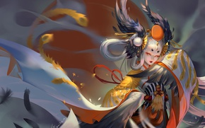 Picture girl, anime, power, fight, asian, japanese, kimono, oriental, asiatic, powerful, miko, onmyouji, asina