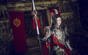 Picture style, background, armor, male, spear, cosplay