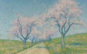 Picture landscape, picture, spring, Achille Lauge, Achilles Box, The road between the Almond Trees in Bloom
