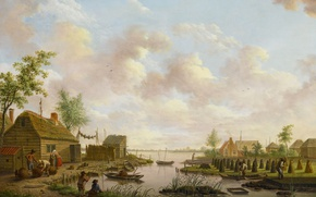 Picture tree, oil, picture, Hendrik Willem Sweikhardt, Landscape with Fishermen and Farmers Extracting Peat