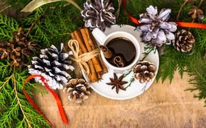 Picture decoration, tree, coffee, New Year, Christmas, Cup, cinnamon, Christmas, bumps, Merry Christmas, Xmas, coffee, decoration, …
