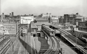 Picture retro, home, station, USA, Boston, 1903-the year