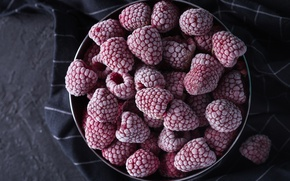 Wallpaper fabric, bowl, cold, food, raspberry, berries, frozen, Cup, frost, frost, background, the dark background, bowl