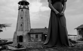 Picture girl, lighthouse, dress, monochrome, Mikhail Potapov