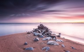 Picture sea, sunset, shore, United States, Maryland, Anne Arundel