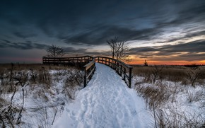 Picture winter, sunset, bridge