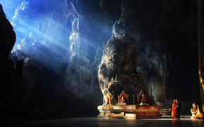 Picture light, rock, photo, mood, situation, children, Asia, cave, sun rays, temple, kids, Myanmar, religion, statues, …