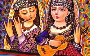 Picture guitar, flute, Duo, Women, Of Sevad Grigoryan