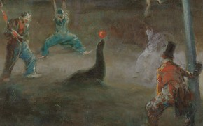 Picture picture, circus, genre, Everett Shinn, Clowns Playing Ball with Seal, Everett Shinn